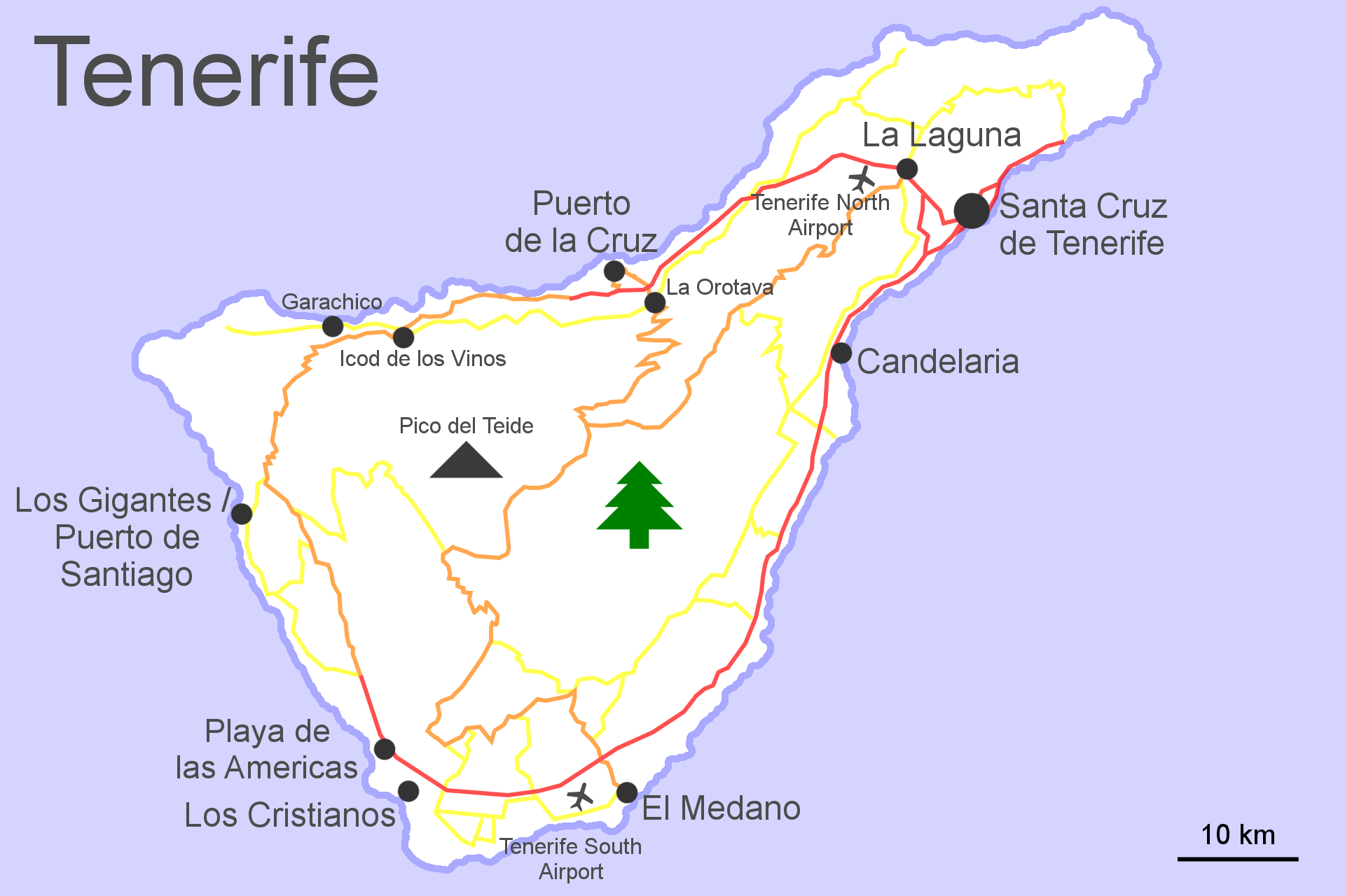 Map of Tenerife Tenerife Tourist